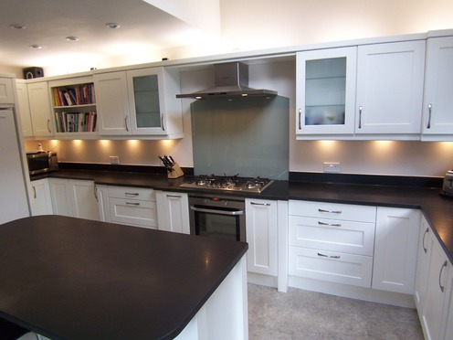 White Shaker kitchen with island