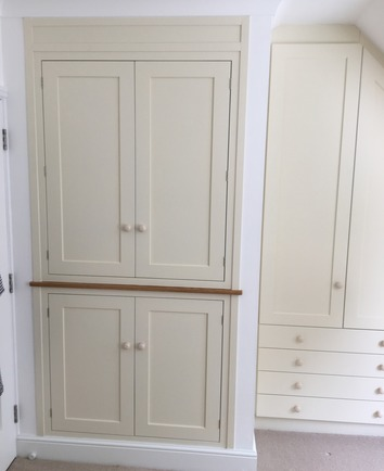 Built-in storage with drawers and doors