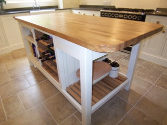 Bespoke island with wine rack
